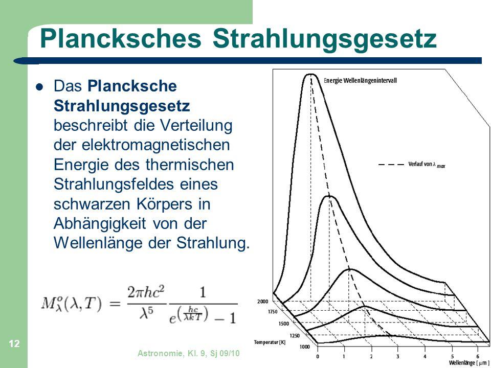 Astronomie, Kl. 9, Sj 09/10 GZG FN W.Seyboldt 12 Plancksches Strahlungsgesetz Das Plancksche Strahlungsgesetz beschreibt die Verteilung der elektromag
