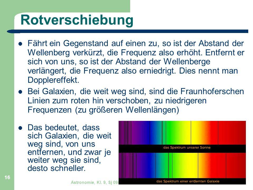 Astronomie, Kl. 9, Sj 09/10 GZG FN W.Seyboldt 16 Rotverschiebung Fährt ein Gegenstand auf einen zu, so ist der Abstand der Wellenberg verkürzt, die Fr