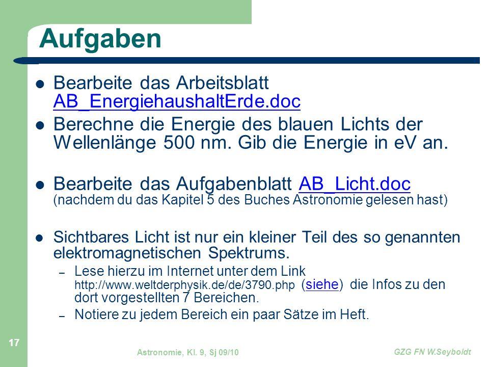 Astronomie, Kl. 9, Sj 09/10 GZG FN W.Seyboldt 17 Aufgaben Bearbeite das Arbeitsblatt AB_EnergiehaushaltErde.doc AB_EnergiehaushaltErde.doc Berechne di