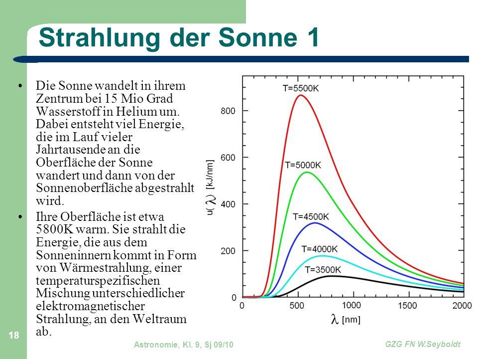Astronomie, Kl. 9, Sj 09/10 GZG FN W.Seyboldt 18 Strahlung der Sonne 1 Die Sonne wandelt in ihrem Zentrum bei 15 Mio Grad Wasserstoff in Helium um. Da