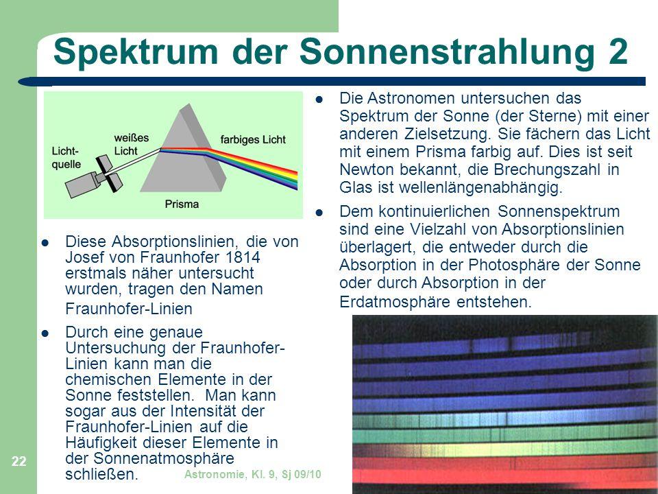 Astronomie, Kl. 9, Sj 09/10 GZG FN W.Seyboldt 22 Spektrum der Sonnenstrahlung 2 Diese Absorptionslinien, die von Josef von Fraunhofer 1814 erstmals nä