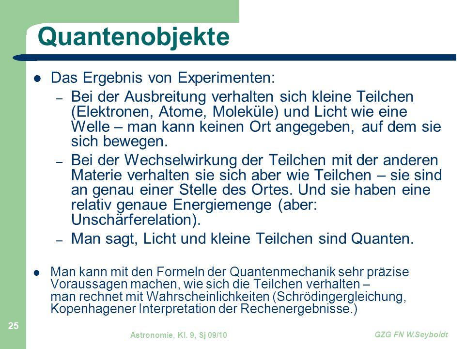 Astronomie, Kl. 9, Sj 09/10 GZG FN W.Seyboldt 25 Quantenobjekte Das Ergebnis von Experimenten: – Bei der Ausbreitung verhalten sich kleine Teilchen (E