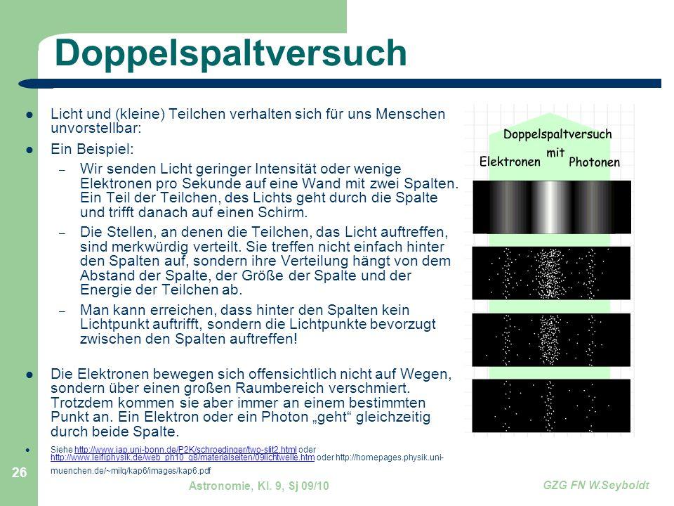 Astronomie, Kl. 9, Sj 09/10 GZG FN W.Seyboldt 26 Doppelspaltversuch Licht und (kleine) Teilchen verhalten sich für uns Menschen unvorstellbar: Ein Bei