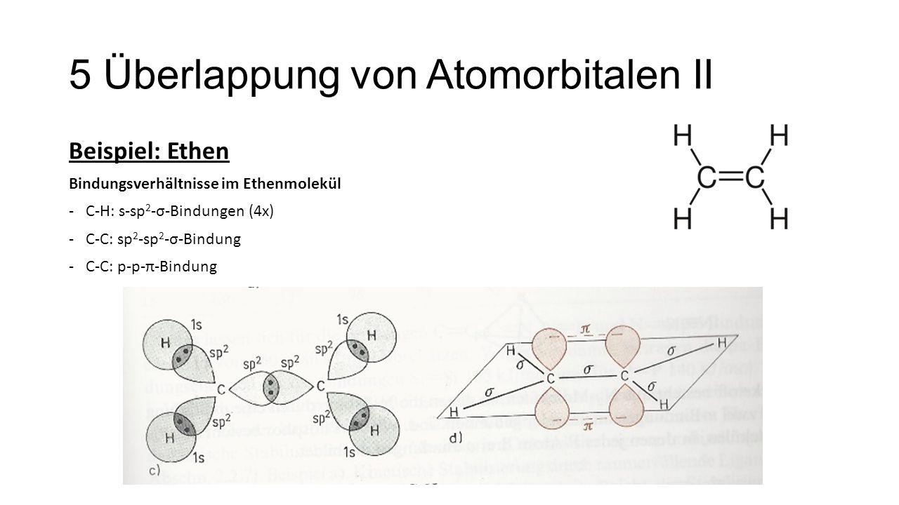 5 Überlappung von Atomorbitalen II Beispiel: Ethen Bindungsverhältnisse im Ethenmolekül -C-H: s-sp 2 -σ-Bindungen (4x) -C-C: sp 2 -sp 2 -σ-Bindung -C-