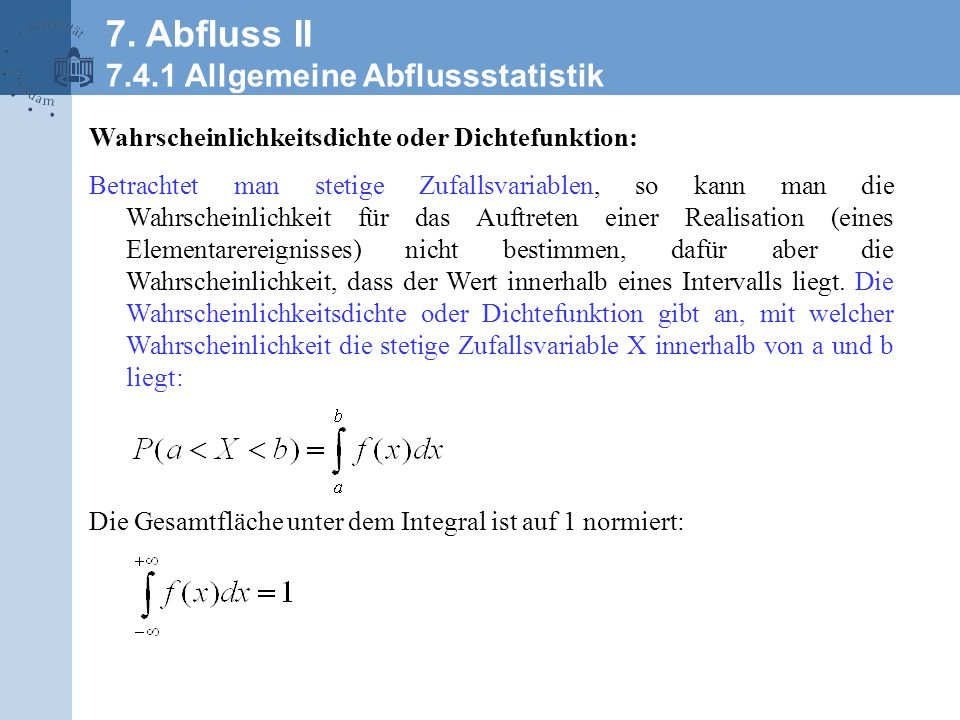 Wikipedia 7. Abfluss II 7.4.1 Allgemeine Abflussstatistik