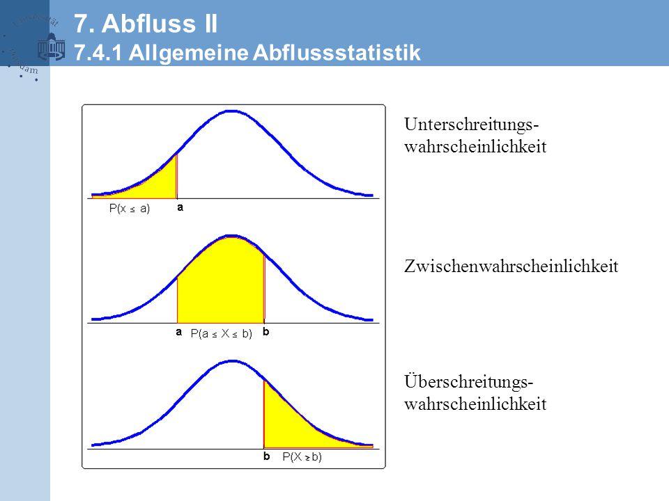 Unterschreitungs- wahrscheinlichkeit Überschreitungs- wahrscheinlichkeit Zwischenwahrscheinlichkeit 7.