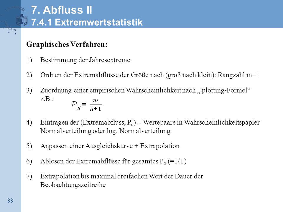 34 Mathematisches Verfahren: 1)Aufstellen der Stichprobe (als höchste Jahreswerte oder Werte über Schwellenwert -> partielle Serie) 2)Auswahl einer passenden Verteilungsfunktion F x 3)Berechnung der stat.