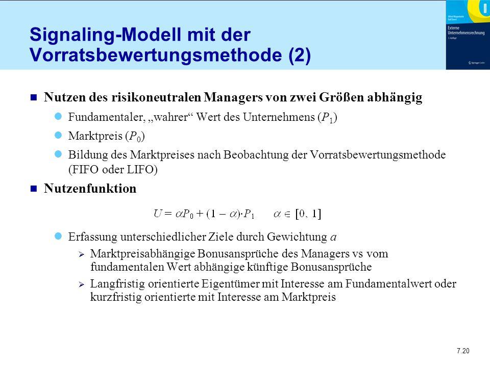 """7.20 Signaling-Modell mit der Vorratsbewertungsmethode (2) n Nutzen des risikoneutralen Managers von zwei Größen abhängig Fundamentaler, """"wahrer"""" Wert"""