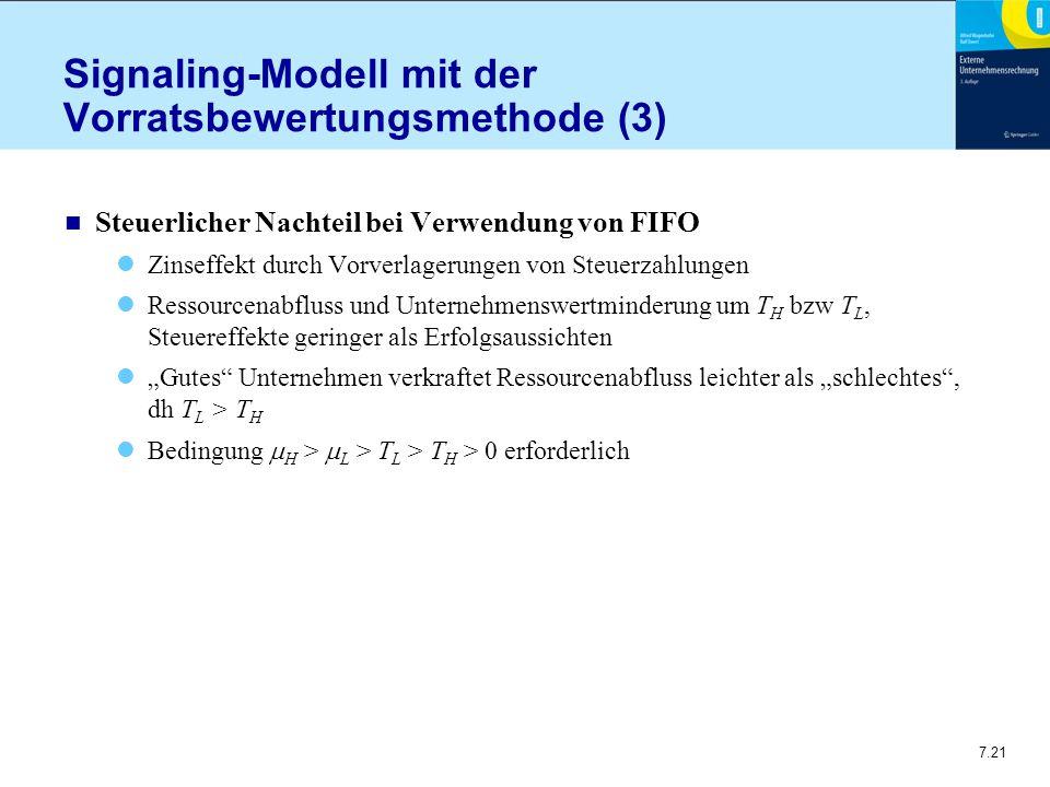"""7.21 Signaling-Modell mit der Vorratsbewertungsmethode (3) n Steuerlicher Nachteil bei Verwendung von FIFO Zinseffekt durch Vorverlagerungen von Steuerzahlungen Ressourcenabfluss und Unternehmenswertminderung um T H bzw T L, Steuereffekte geringer als Erfolgsaussichten """"Gutes Unternehmen verkraftet Ressourcenabfluss leichter als """"schlechtes , dh T L > T H Bedingung  H >  L > T L > T H > 0 erforderlich"""