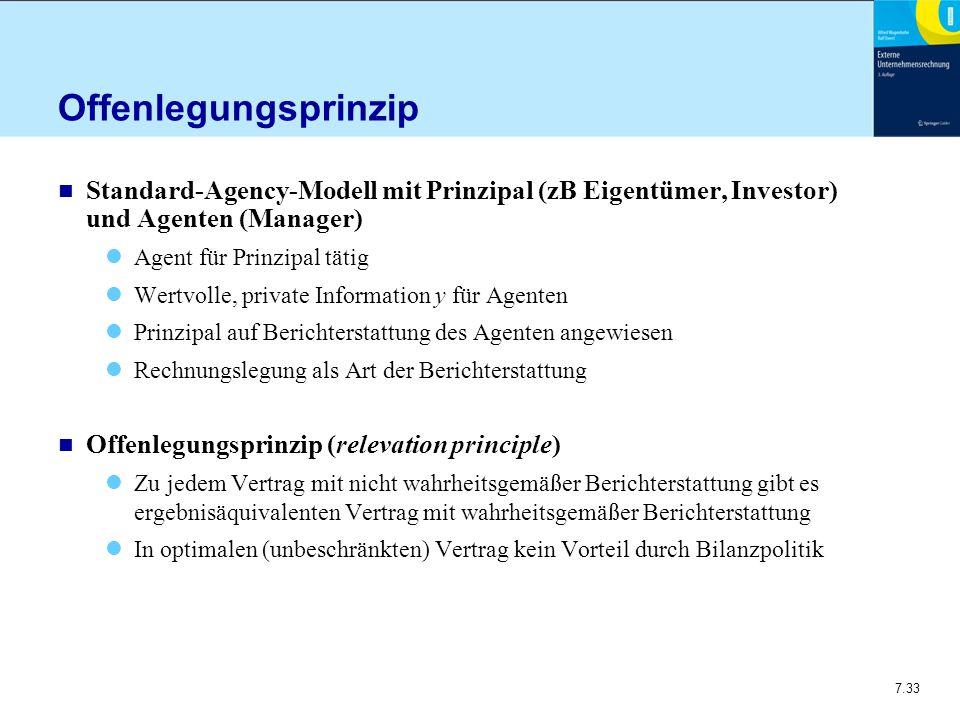 7.33 Offenlegungsprinzip n Standard-Agency-Modell mit Prinzipal (zB Eigentümer, Investor) und Agenten (Manager) Agent für Prinzipal tätig Wertvolle, p