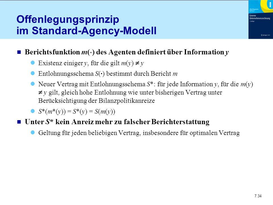 7.34 Offenlegungsprinzip im Standard-Agency-Modell n Berichtsfunktion m(  ) des Agenten definiert über Information y Existenz einiger y, für die gilt