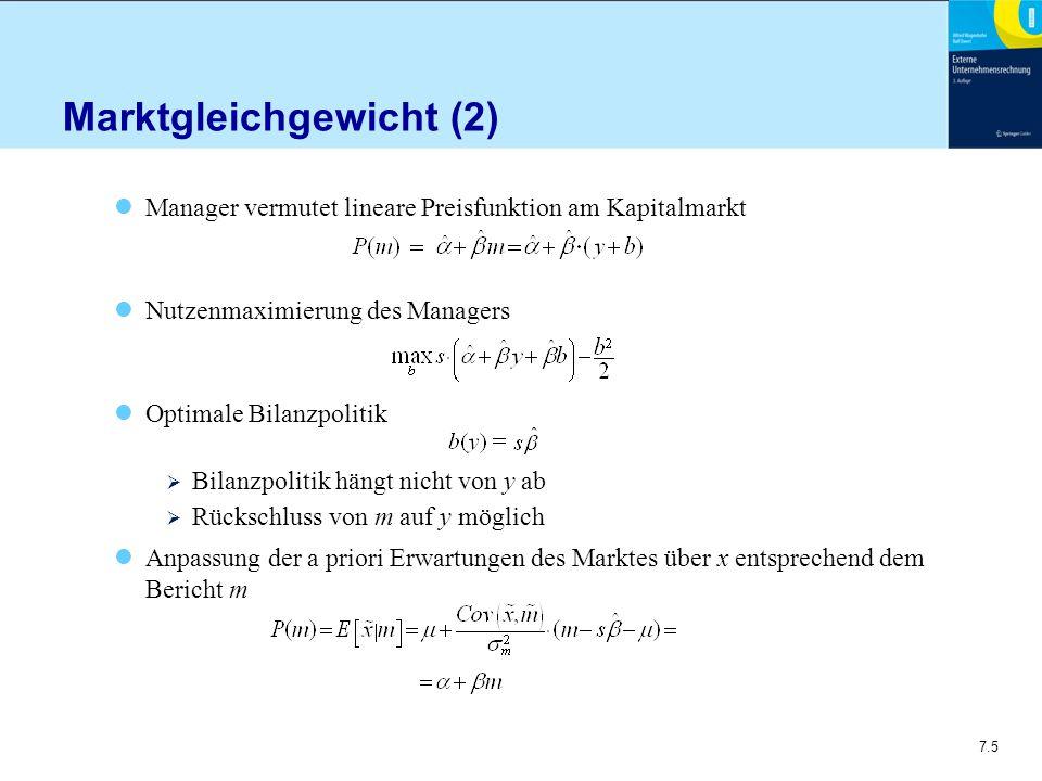 7.6 Marktgleichgewicht (3) Erfüllung der Erwartungen im Gleichgewicht Für Parameter der Bilanzpolitik gilt λ = 0