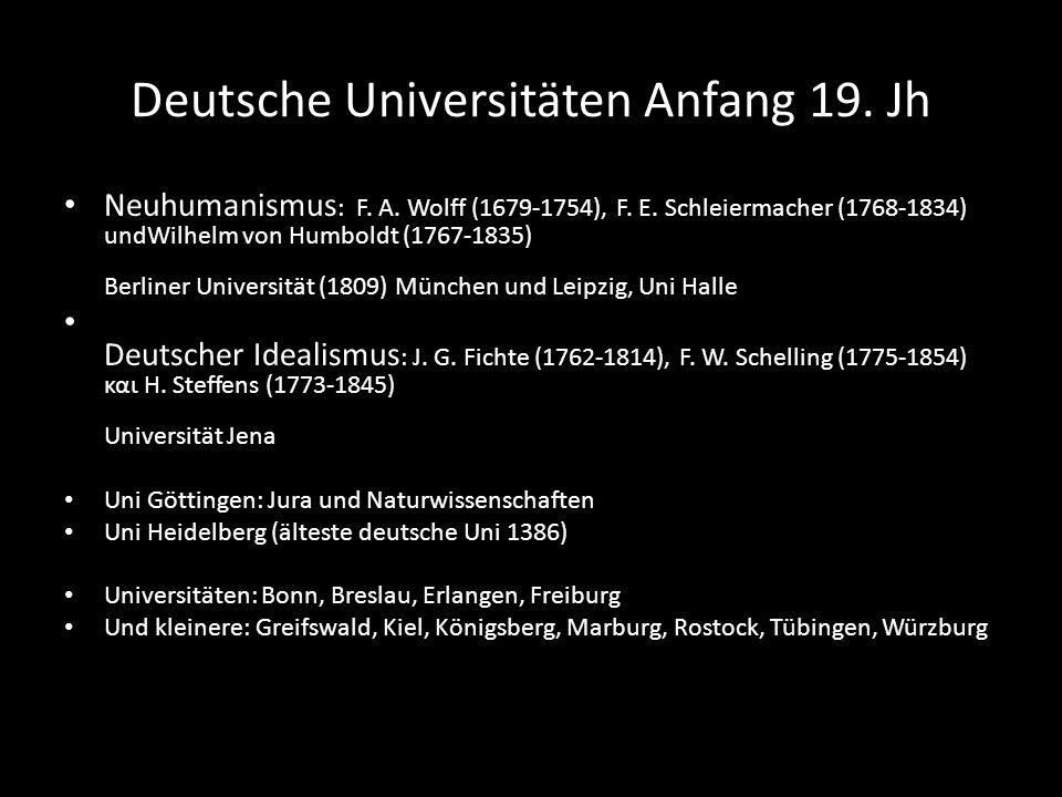 Deutsche Universitäten Anfang 19. Jh Neuhumanismus : F. Α. Wolff (1679-1754), F. Ε. Schleiermacher (1768-1834) undWilhelm von Humboldt (1767-1835) Ber
