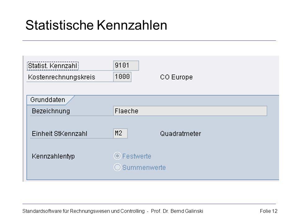 Standardsoftware für Rechnungswesen und Controlling - Prof. Dr. Bernd Galinski Folie 12 Statistische Kennzahlen