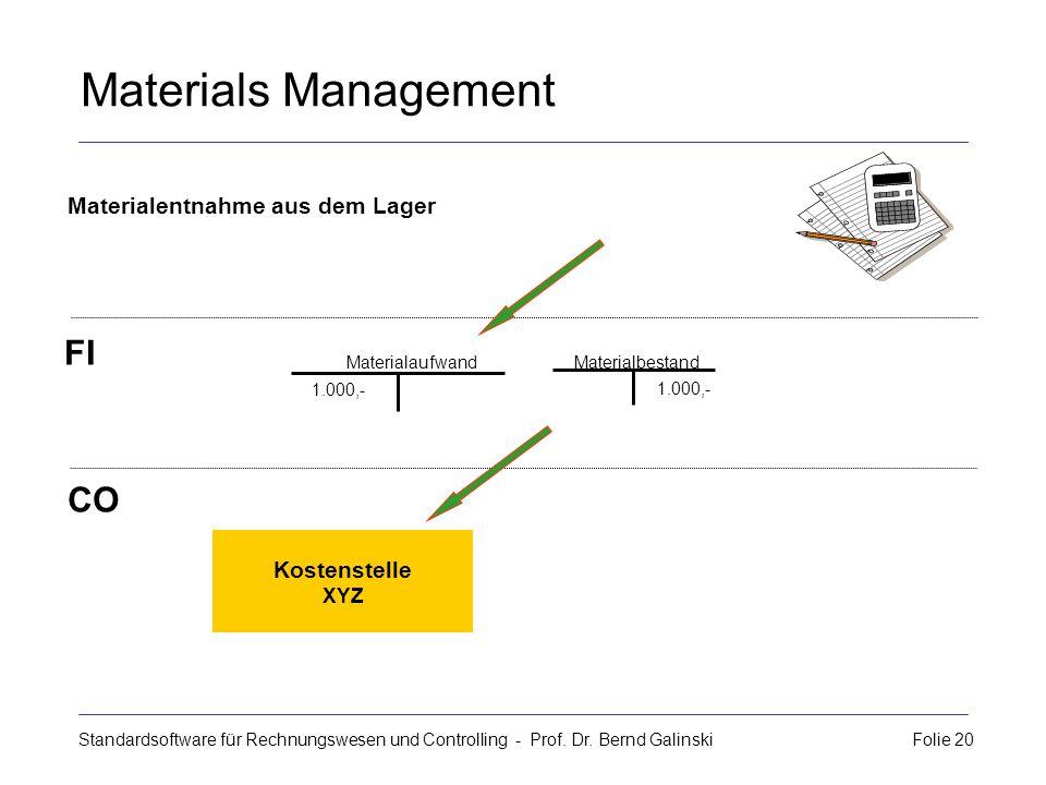 Standardsoftware für Rechnungswesen und Controlling - Prof. Dr. Bernd Galinski Folie 20 Materials Management Kostenstelle XYZ Materialentnahme aus dem