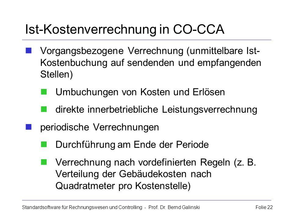 Standardsoftware für Rechnungswesen und Controlling - Prof. Dr. Bernd Galinski Folie 22 Ist-Kostenverrechnung in CO-CCA Vorgangsbezogene Verrechnung (