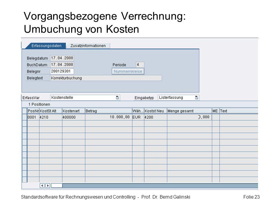 Standardsoftware für Rechnungswesen und Controlling - Prof. Dr. Bernd Galinski Folie 23 Vorgangsbezogene Verrechnung: Umbuchung von Kosten