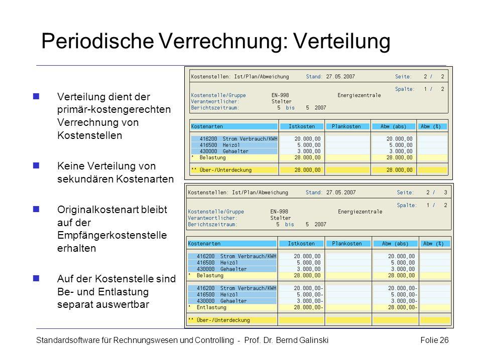 Standardsoftware für Rechnungswesen und Controlling - Prof. Dr. Bernd Galinski Folie 26 Periodische Verrechnung: Verteilung Verteilung dient der primä