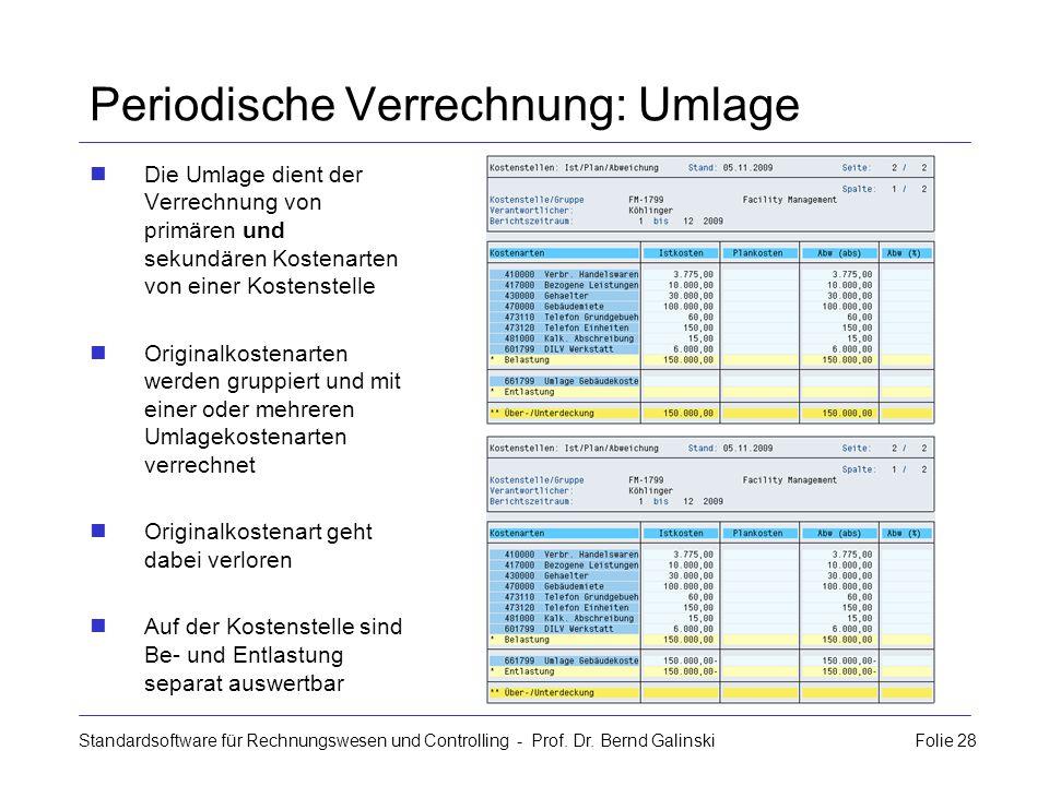 Standardsoftware für Rechnungswesen und Controlling - Prof. Dr. Bernd Galinski Folie 28 Periodische Verrechnung: Umlage Die Umlage dient der Verrechnu