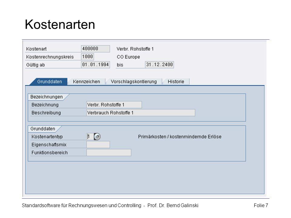 Standardsoftware für Rechnungswesen und Controlling - Prof. Dr. Bernd Galinski Folie 7 Kostenarten