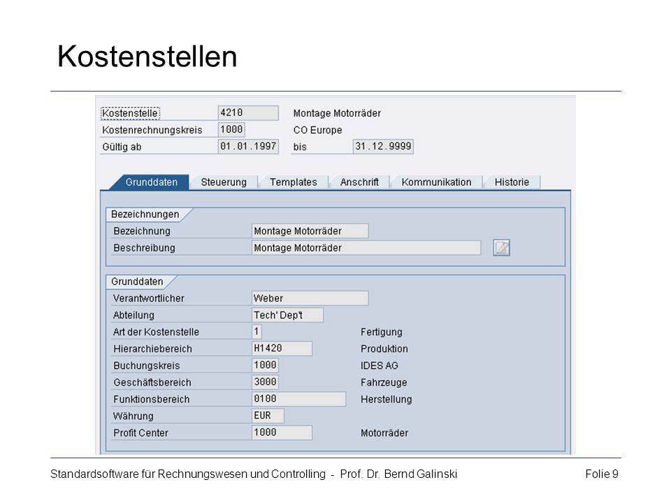 Standardsoftware für Rechnungswesen und Controlling - Prof. Dr. Bernd Galinski Folie 9 Kostenstellen