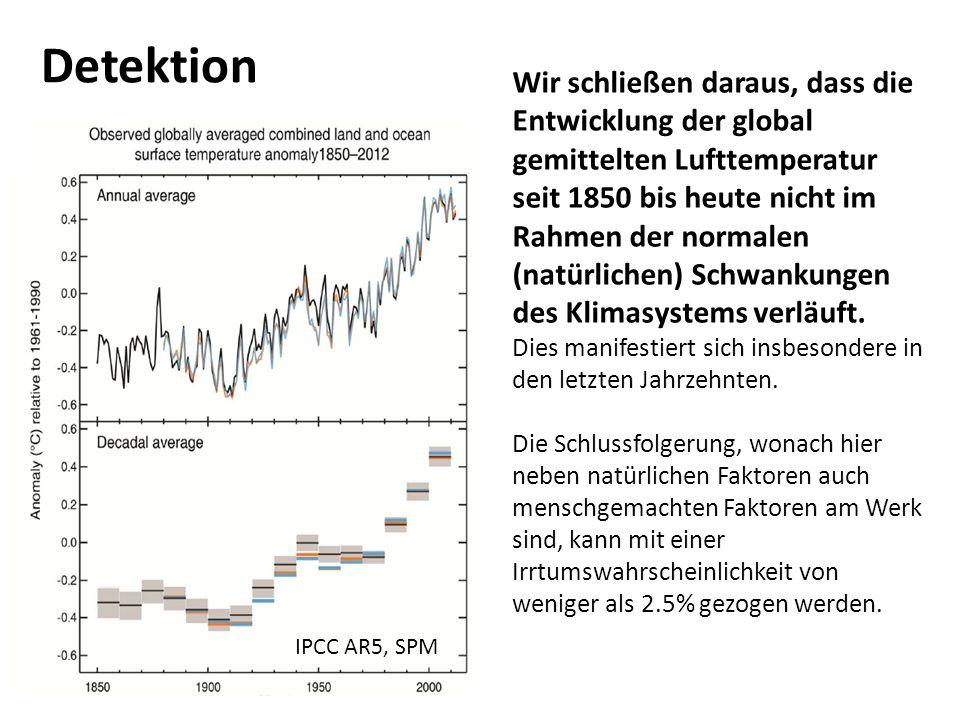 15 IPCC AR5, SPM Detektion Wir schließen daraus, dass die Entwicklung der global gemittelten Lufttemperatur seit 1850 bis heute nicht im Rahmen der normalen (natürlichen) Schwankungen des Klimasystems verläuft.