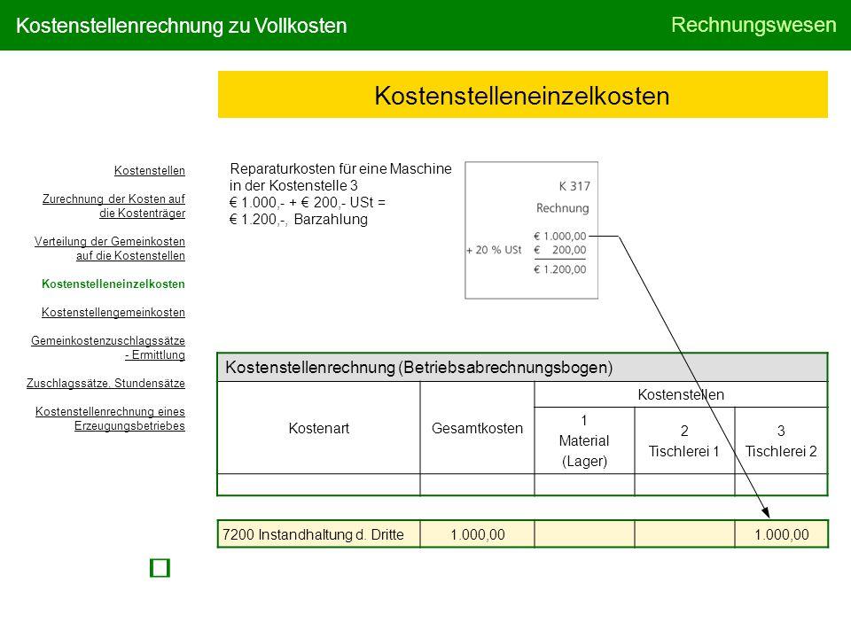 Rechnungswesen Kostenstellenrechnung zu Vollkosten Kostenstelleneinzelkosten Reparaturkosten für eine Maschine in der Kostenstelle 3 € 1.000,- + € 200