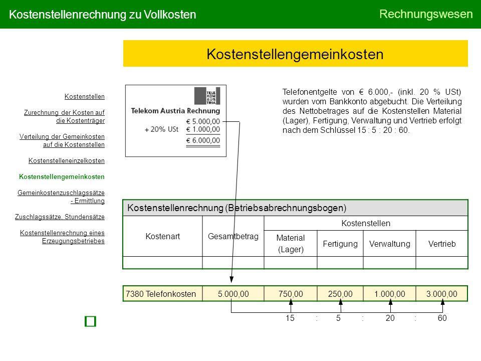 Rechnungswesen Kostenstellenrechnung zu Vollkosten Kostenstellengemeinkosten Telefonentgelte von € 6.000,- (inkl. 20 % USt) wurden vom Bankkonto abgeb