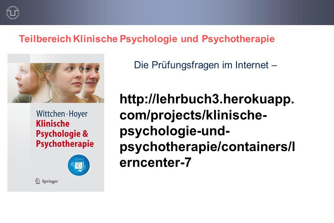 Teilbereich Klinische Psychologie und Psychotherapie http://lehrbuch3.herokuapp.