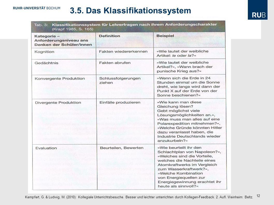 12 3.5. Das Klassifikationssystem Kempfert, G. & Ludwig, M. (2010): Kollegiale Unterrichtsbesuche. Besser und leichter unterrichten durch Kollegen-Fee