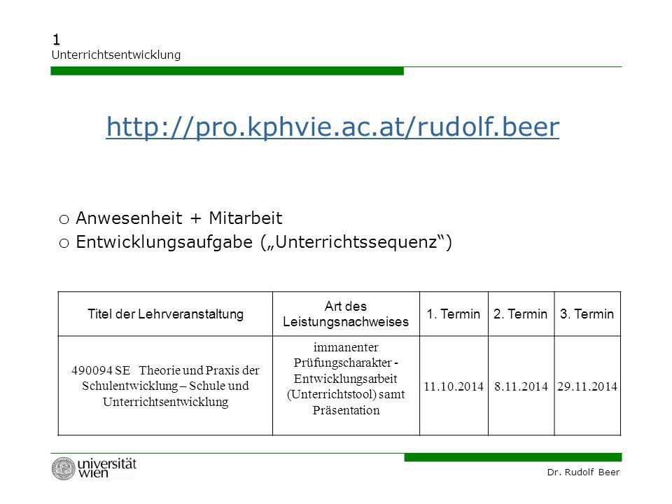 """Dr. Rudolf Beer 1 Unterrichtsentwicklung http://pro.kphvie.ac.at/rudolf.beer o Anwesenheit + Mitarbeit o Entwicklungsaufgabe (""""Unterrichtssequenz"""") Ti"""