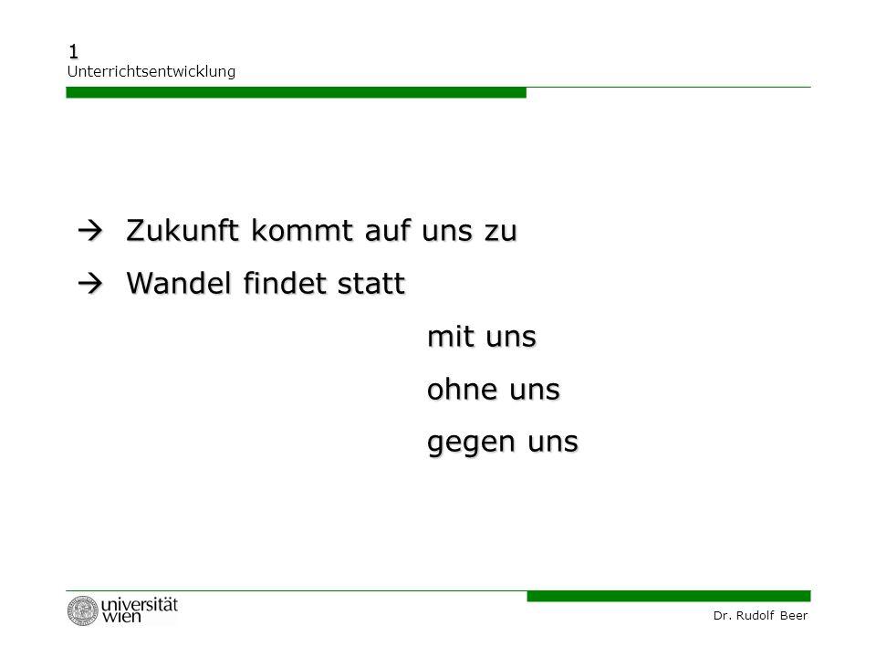 Dr. Rudolf Beer 1 Unterrichtsentwicklung  Zukunft kommt auf uns zu  Wandel findet statt mit uns ohne uns gegen uns
