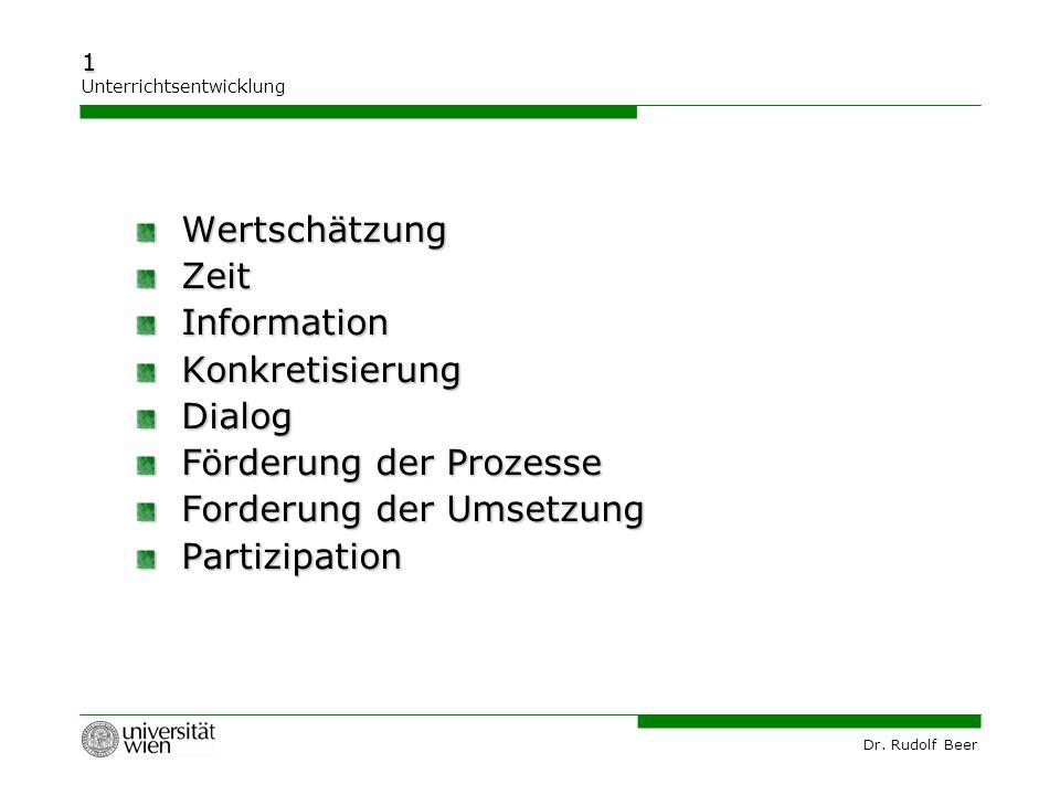 Dr. Rudolf Beer 1 Unterrichtsentwicklung Wertschätzung Wertschätzung Zeit Zeit Information Information Konkretisierung Konkretisierung Dialog Dialog F