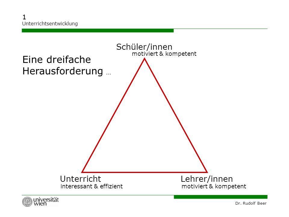 Dr. Rudolf Beer 1 Unterrichtsentwicklung Schüler/innen UnterrichtLehrer/innen motiviert & kompetent interessant & effizient Eine dreifache Herausforde