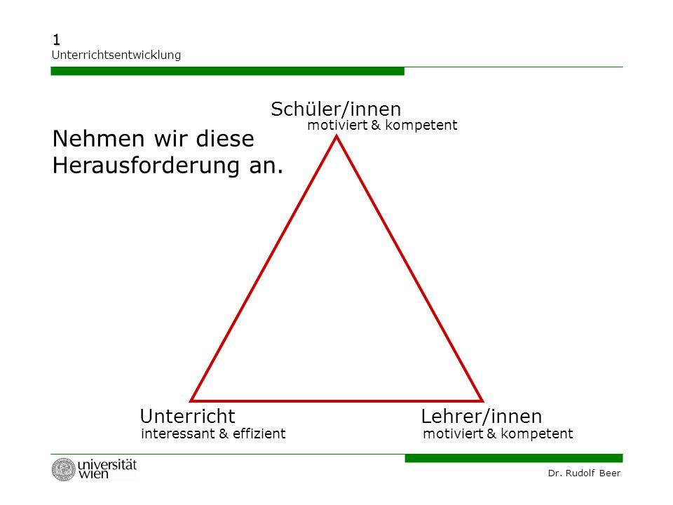 Dr. Rudolf Beer 1 Unterrichtsentwicklung UnterrichtLehrer/innen motiviert & kompetent interessant & effizient Nehmen wir diese Herausforderung an. Sch