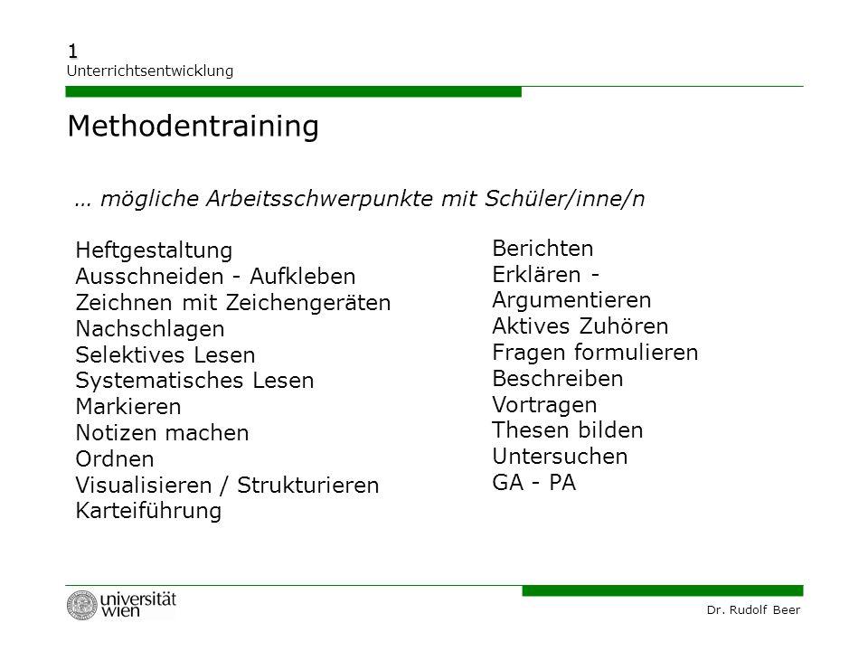 Dr. Rudolf Beer 1 Unterrichtsentwicklung … mögliche Arbeitsschwerpunkte mit Schüler/inne/n Heftgestaltung Ausschneiden - Aufkleben Zeichnen mit Zeiche