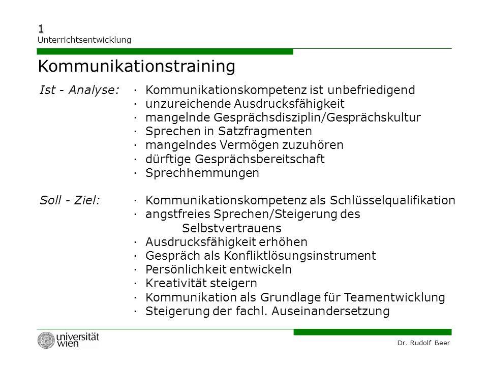 Dr. Rudolf Beer 1 Unterrichtsentwicklung Ist - Analyse:· Kommunikationskompetenz ist unbefriedigend · unzureichende Ausdrucksfähigkeit · mangelnde Ges
