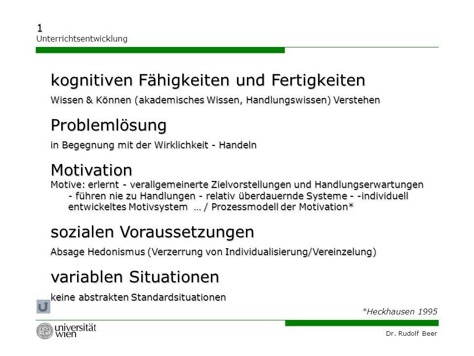 Dr. Rudolf Beer 1 Unterrichtsentwicklung kognitiven Fähigkeiten und Fertigkeiten Wissen & Können (akademisches Wissen, Handlungswissen) Verstehen Prob