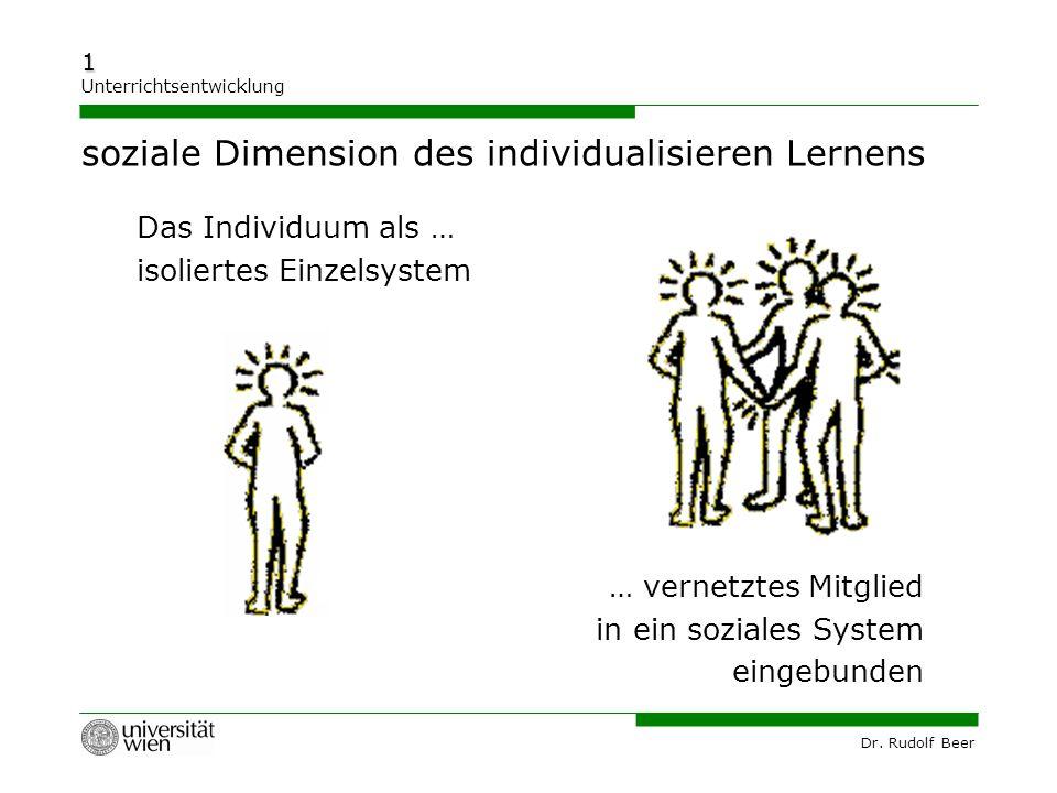 Dr. Rudolf Beer 1 Unterrichtsentwicklung soziale Dimension des individualisieren Lernens Das Individuum als … isoliertes Einzelsystem … vernetztes Mit