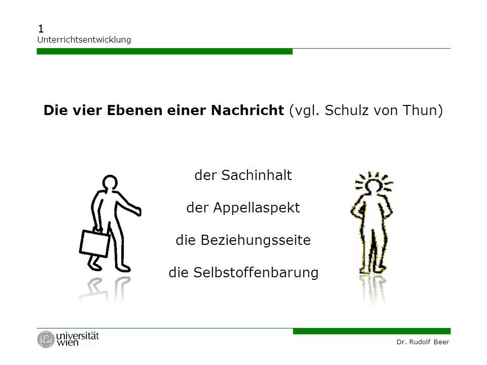 Dr. Rudolf Beer 1 Unterrichtsentwicklung Die vier Ebenen einer Nachricht (vgl. Schulz von Thun) der Sachinhalt der Appellaspekt die Beziehungsseite di