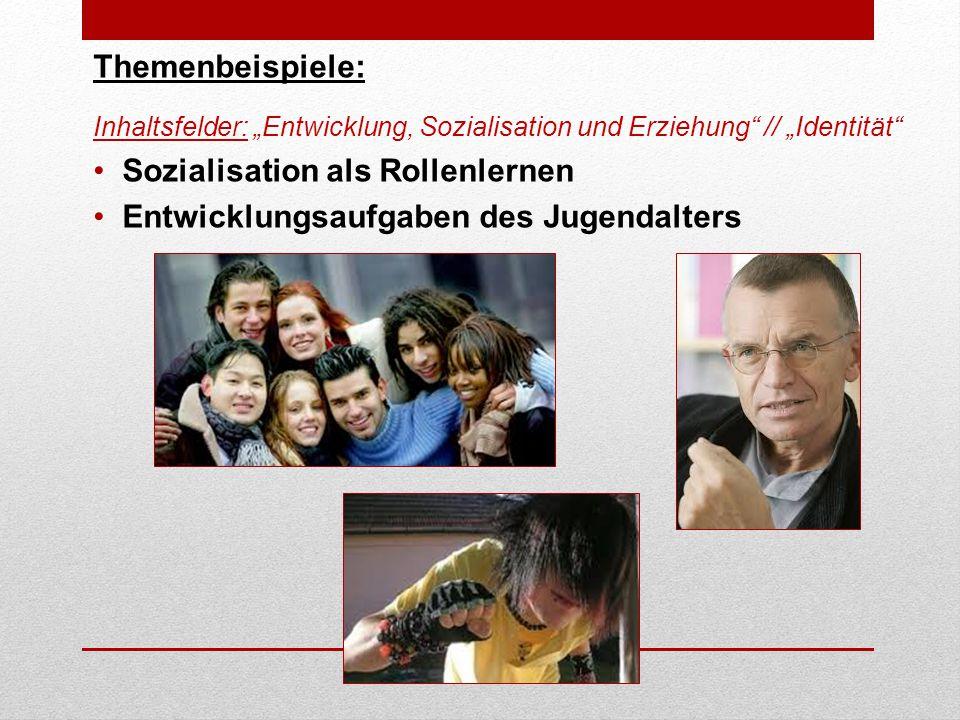 """Themenbeispiele: Inhaltsfelder: """"Entwicklung, Sozialisation und Erziehung // """"Identität Sozialisation als Rollenlernen Entwicklungsaufgaben des Jugendalters"""