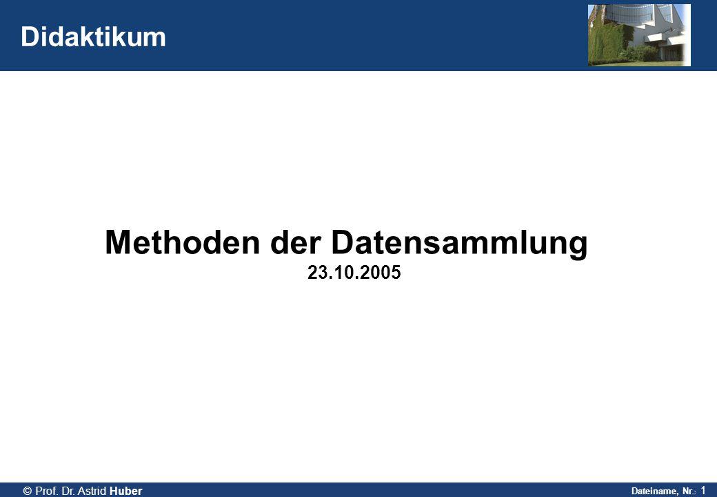 Dateiname, Nr.: 1 © Prof. Dr. Astrid Huber Didaktikum Methoden der Datensammlung 23.10.2005