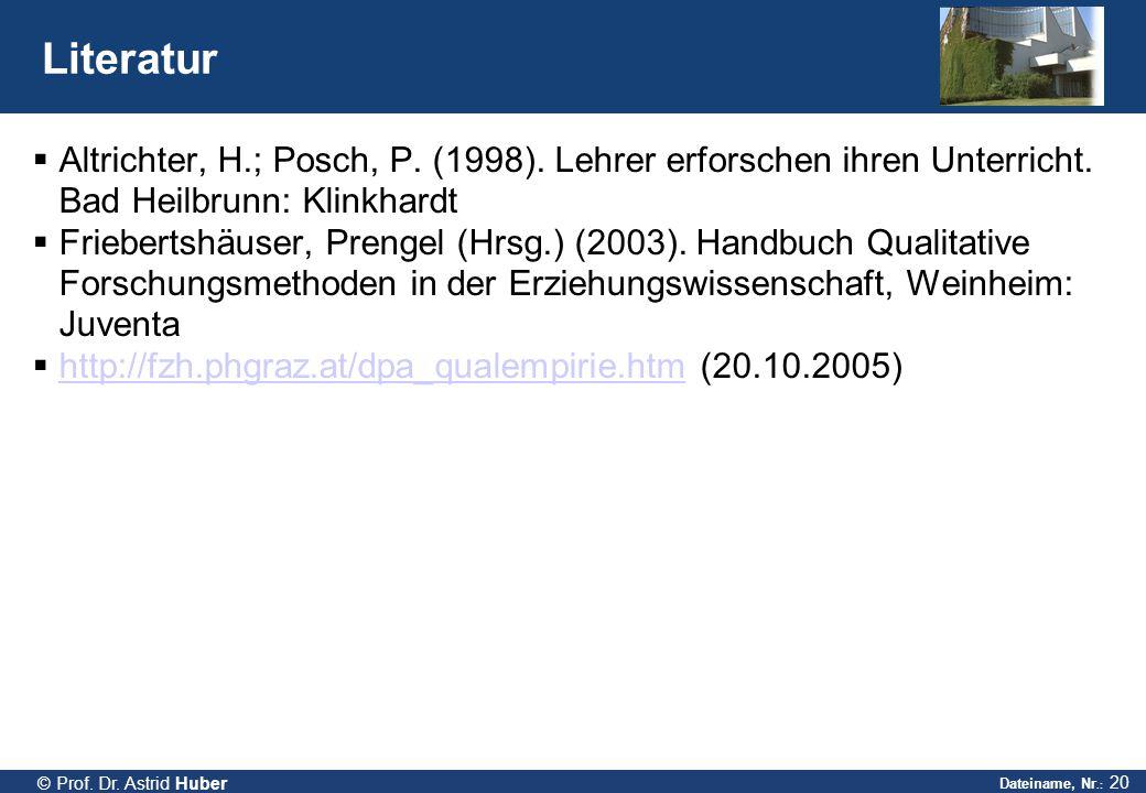 Dateiname, Nr.: 20 © Prof. Dr. Astrid Huber Literatur  Altrichter, H.; Posch, P. (1998). Lehrer erforschen ihren Unterricht. Bad Heilbrunn: Klinkhard