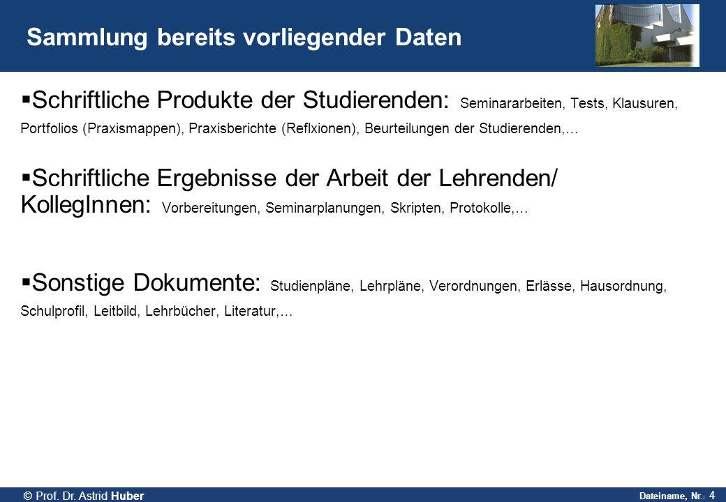 Dateiname, Nr.: 4 © Prof. Dr. Astrid Huber Sammlung bereits vorliegender Daten  Schriftliche Produkte der Studierenden: Seminararbeiten, Tests, Klaus