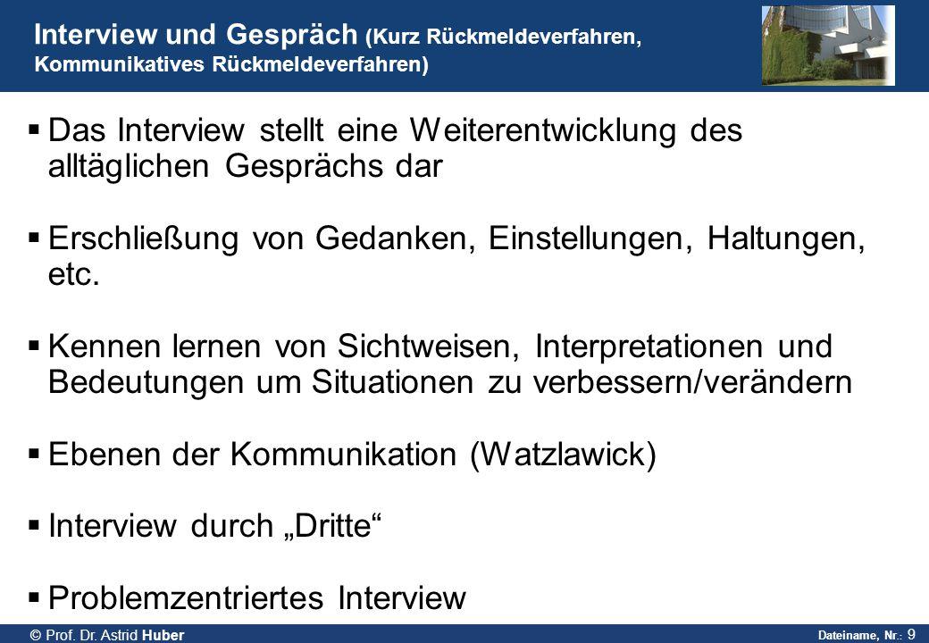 Dateiname, Nr.: 9 © Prof. Dr. Astrid Huber Interview und Gespräch (Kurz Rückmeldeverfahren, Kommunikatives Rückmeldeverfahren)  Das Interview stellt