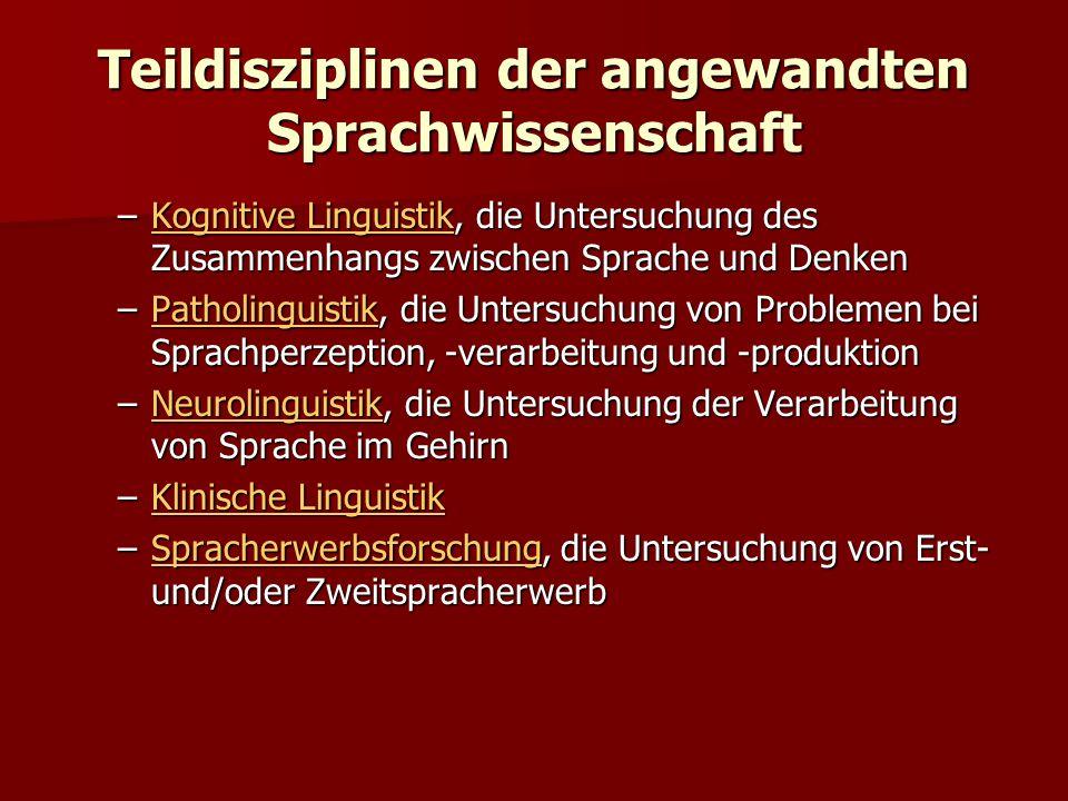 Teildisziplinen der angewandten Sprachwissenschaft –Kognitive Linguistik, die Untersuchung des Zusammenhangs zwischen Sprache und Denken Kognitive Lin