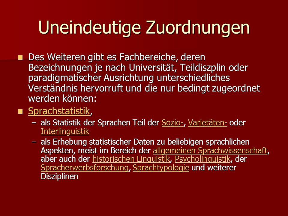 Uneindeutige Zuordnungen Des Weiteren gibt es Fachbereiche, deren Bezeichnungen je nach Universität, Teildiszplin oder paradigmatischer Ausrichtung un