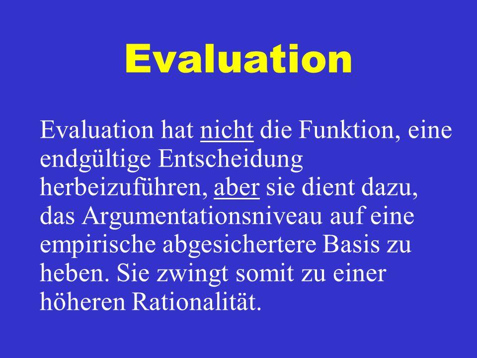 Evaluation Evaluation hat nicht die Funktion, eine endgültige Entscheidung herbeizuführen, aber sie dient dazu, das Argumentationsniveau auf eine empirische abgesichertere Basis zu heben.