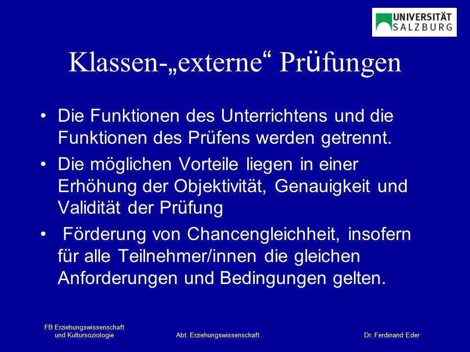 FB Erziehungswissenschaft und KultursoziologieAbt.