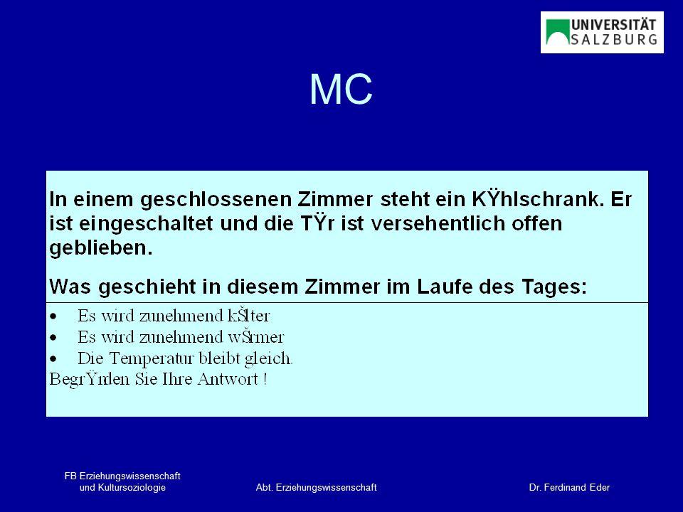 FB Erziehungswissenschaft und KultursoziologieAbt. Erziehungswissenschaft Dr. Ferdinand Eder MC
